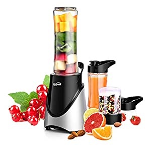 Housmile Smoothie Blender Makers, Grinder & Juicer – Portable Food Blenders Processor Shake Mixer Maker for Fruit, Milkshake, Vegetables Drinks, Ice, 300W