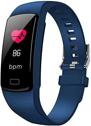Reloj inteligente con monitor de ritmo cardíaco, monitor de actividad física, pantalla a color con IP67, llamada Bluetooth impermeable, compatible con Android e iOS, color morado y azul