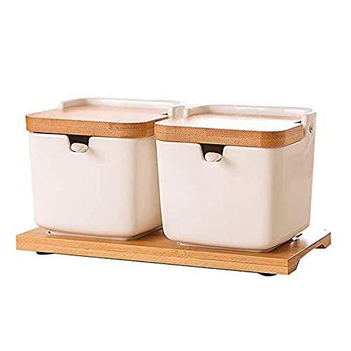 botes cocina Conjunto de 2 azúcar con tapas y cucharas, tarro de azúcar cerámico 8.54oz con cuchara, condimento de spice frasco para cocina, plato de azúcar de porcelana para azúcar, sirviendo, especi