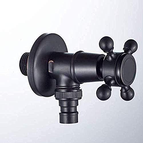 Yiffshunl Grifo de jardín Todo el Material de Cobre Negro Bronce Negro Lavadora Grifo Balcón Grifo Conector de Cierre