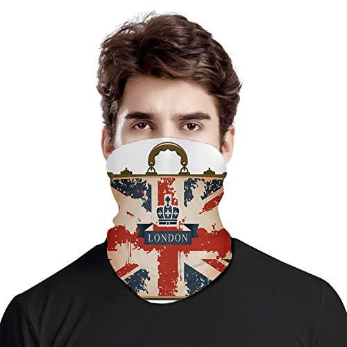 FULIYA Bufanda de cabeza variada, maleta de viaje vintage con bandera británica London Ribbon and Crown Imagen, para exteriores, festivales, deportes