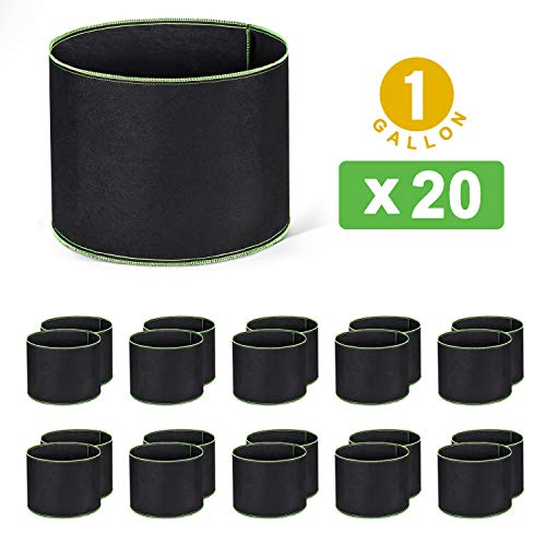 Delxo 20-Pack 1 Gallon Grow Bags Heavy Duty Aeration Fabric Pots Thickened...