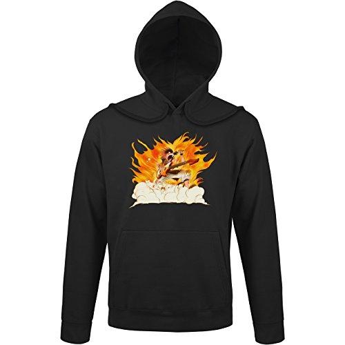 Okiwoki Sweat-Shirt à Capuche Noir Parodie Fairy Tail - Natsu - Un Chanteur Qui met Le feu. (V2) ! (Sweatshirt de qualité Premium de Taille L - imprimé en France)