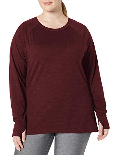 Amazon Essentials Plus Size Brushed Tech Stretch Long-Sleeve Crew Fashion-t-Shirts, Borgoña (Burgundy Space Dye), 6X