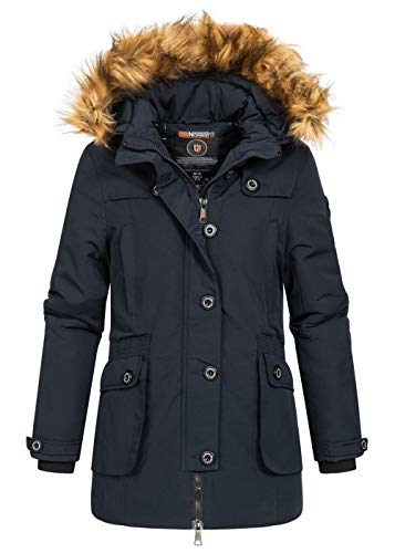 Geographical Norway Damen Winterjacke Belladora Parka Jacke Kapuze Webpelz 4 Pockets, Navy blau, Gr:XL