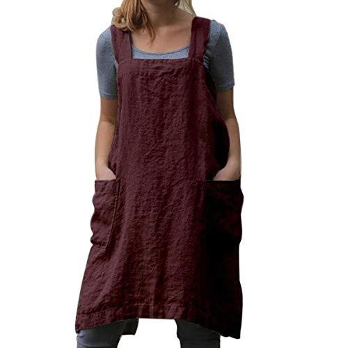 Küchen-Kochschürzen Weiche Baumwoll-Leinen-Schürze Japanischer Stil X-Form Doppeltaschen Runder Rock zum Kochen, Einweihen, Tägliche Aufgaben (Wine Red, XL)