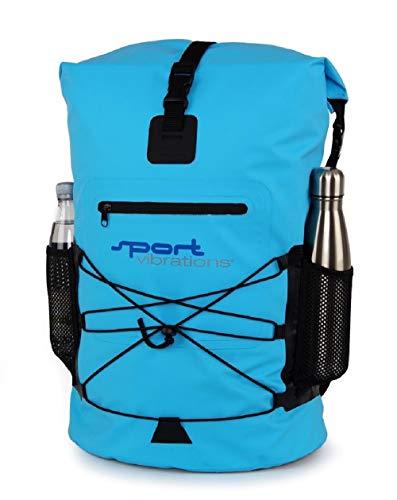 SUPwave Premium Thermo-Dry Bag, Rucksack 30 Liter, Rolltop, Outdoor Rucksack, Wasserdicht Sport-Vibrations (Blau)