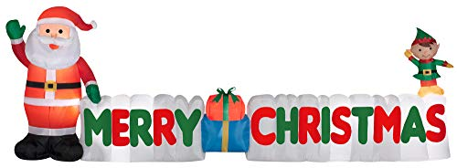 12 Ft. Long Outdoor Inflatable Merry Christmas Sign w/Santa Clause & Elf | Great Lawn or Yard Holiday Decor w/Light | Perfect Accent to Other Seasonal Ornaments