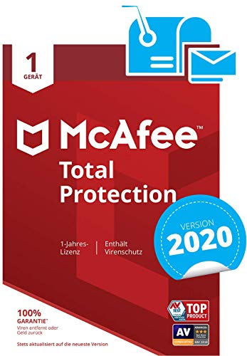McAfee Total Protection 2020 | 1 Gerät | 1 Jahr | PC/Mac/Smartphone/Tablet | Aktivierungscode per Post