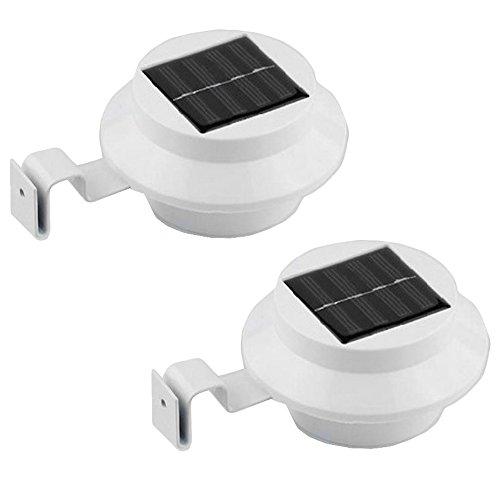 Grafner® 2er-Set Solar LED Dachrinnen Leuchten | weiß | mit Klemmschraube | Dachrinneleuchte Zaunleuchte Solar LED