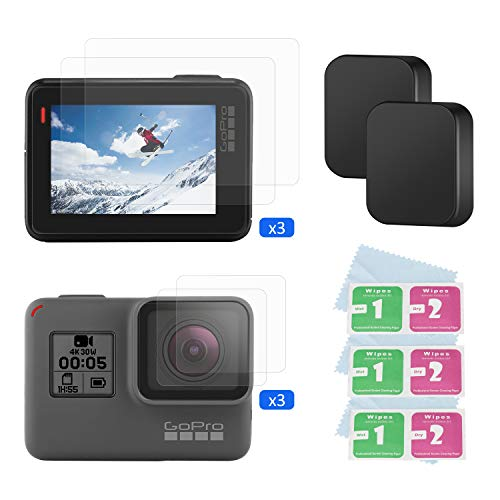 【8 Pcs】 BOYISEN Tempered Glass Screen Protector for Gopro Hero 7(Black)/6/5/2018, with Screen and Lens Tempered Glass Films Lens Cap Cover for Full Protection for Gopro Camera Screen and Lens