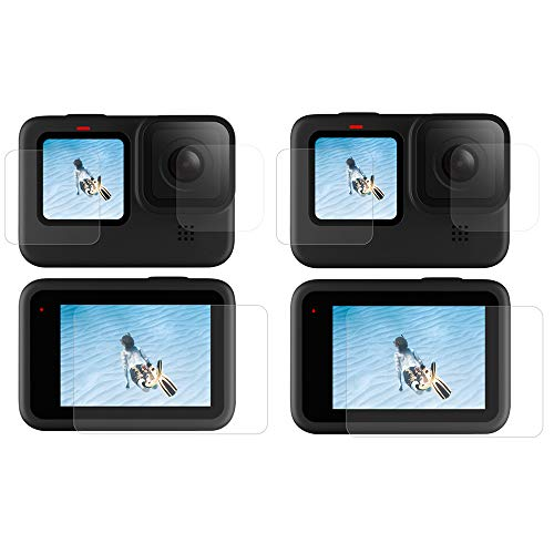 Linghuang - Lote de 6 protectores de pantalla para GoPro Hero 9 Black HD, película de protección para lente + HD pequeña protector de pantalla + protector de pantalla ultra claro