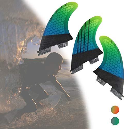 Surf Quilla Set, Fibra de Carbon + Fibra de Vidrio + Estructura de Panal Desmontable Tabla de Surf & Paddleboard Quillas (3 Aletas) para Longboard, Surfboard y Sup,Verde,G7