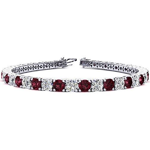 Silvernshine Jewels - Bracciale tennis con granato rosso e diamanti sim taglio rotondo da 9,66 ct, placcato oro bianco 14 K e Argento, colore: bianco, cod. SNSB294-WG_9