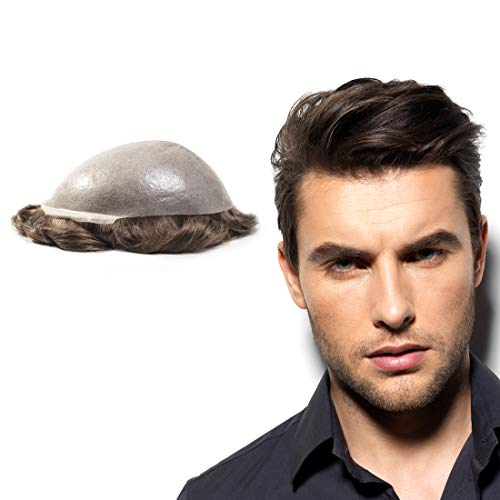 """Superhairpieces Men's Toupee NM101 Premium Natural Indian Remy Hair 0.2mm 8""""x10"""" Super Clean PU Thin Skin Hairpiece Mens Human Wigs Toupee for Men (Medium Brown)"""
