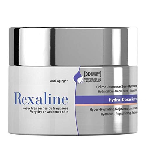Rexaline - Hydra-Dose Nutri+ - Crema juventud sobre-hidratante - Crema de ácido hialurónico antiarrugas - Tratamiento antiedad - Crema facial de día y de noche - Piel seca- Cruelty free - 50ml