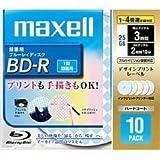 maxell 録画用 BD-R 25GB 4倍速対応 プリンタブル 5色 デザインプリントレーベル 10枚入 BR25VFWPMB.10S