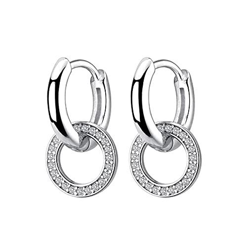 Pendientes de aro brillantes, encanto de moda, plata de ley 925, circonita transparente, oreja circular para mujer, joyería de declaración de boda