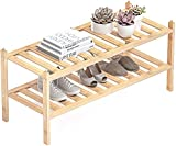 Dranixly Bamboo 2-Tier Shoe Rack Stackable Shoe Shelf Storage Organizer for Entryway, Hallway and Closet, 27.2'x11'x13.2' (Natural)