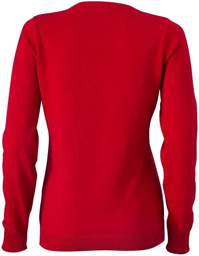 James & Nicholson Damen V-Neck Pullover Pullover Red
