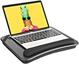 HUANUO Laptop Lap Desk - Fits up to 14 inches Laptop Stand with Phone Holder,Tablet Holder, Portable Lap Desk Built-in Soft Foam Pillow Cushion, Elastic Band,Laptop Stop Bar - HNLD13