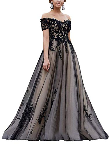 Mauwey Women's Off The Shoulder Wedding Dress Lace Applique Tulle Sweetheart Formal Prom Evening Gown