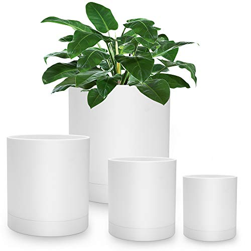 White Planter Pots with Drainage -Indoor or Outdoor Plastic Modern Planter Set of 4 Plant...
