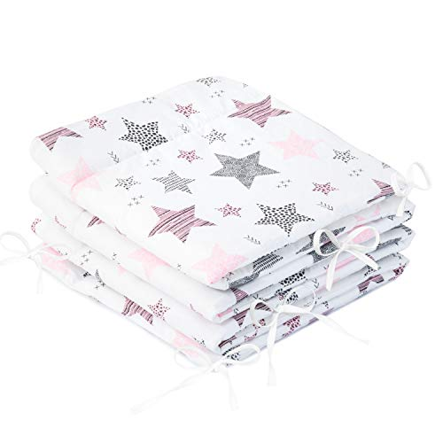 Amilian Protector de bordes para cuna de bebé, suave, protector de bordes para bebé, accesorio para parque infantil, 210 x 30 cm, estrella fugaz rosa