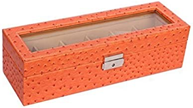 Premsons® Rectangular Ostrich Print Faux Leather Wrist Watch Storage Box Display Case Organizer with Glass Window 6 Slot Ideal for Men, Women, Boys and Girls - Orange