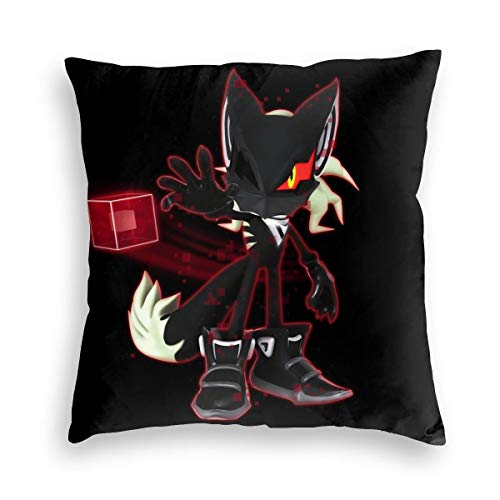Ultra Warm Velvet Square Pillow Case Fade Resistance, Infinite Action Figure Sonic The Hedgehog Force, Retro Zippered Cushion Cases for Patio Bedding Gift 18x18 Inch