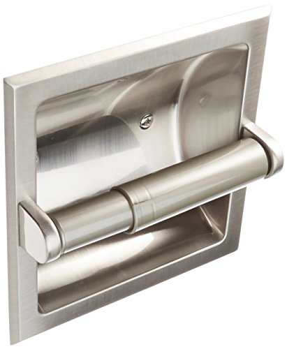 Rocky Mountain Goods Recessed Toilet Paper Holder with Rear Mounting Bracket Install Kit - Easy installation - Saves space in your bathroom - Premium finish - Heavy duty metal (1, Brushed Nickel)