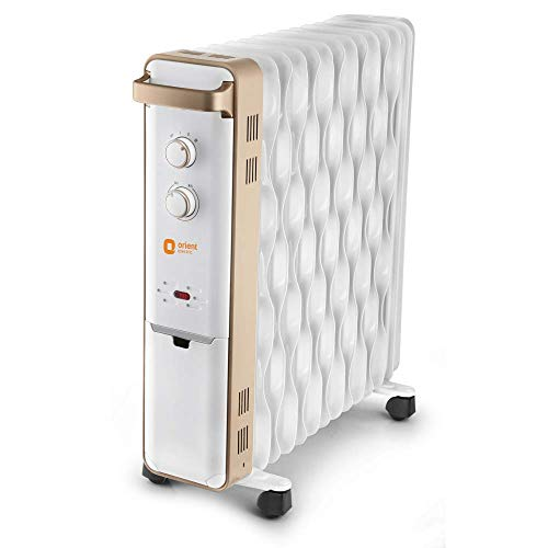 Orient Electric Ultra Comfort 11 Fin Oil Filled Radiator Room Heater (White, Gold)