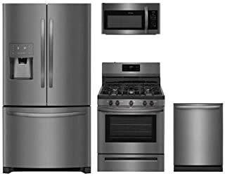 Frigidaire 4-Piece Black Stainless Steel Kitchen Package with FFHB2750TD 36 French Door Refrigerator, FFGF3054TD 30 Gas Freestanding Range, FFMV1645TD 30 Over-the-Range Microwave and FFID2426TD 24 Fully Integrated Dishwasher