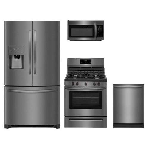 """Frigidaire 4-Piece Black Stainless Steel Kitchen Package with FFHB2750TD 36"""" French Door Refrigerator FFGF3054TD 30"""" Gas Freestanding Range FFMV1645TD 30"""" Over-the-Range Microwave and FFID2426TD 24"""" Fully Integrated Dishwasher"""