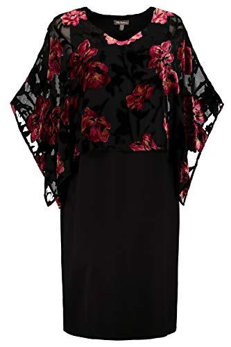 Ulla Popken Damen große Größen Jerseykleid mit Überwurf schwarz 54/56 725834 10-54+