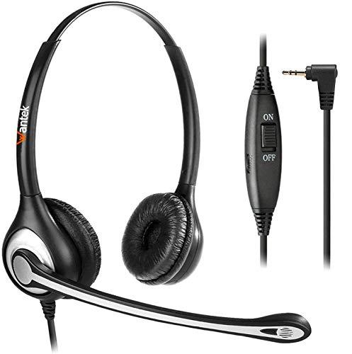 Auricular de 2,5 mm con micrófono, cancelación de ruido y control de volumen, inalámbrico, para teléfonos Gigaset C430 S850 CL660HX, Panasonic Cisco Polycom DECT, Home Office