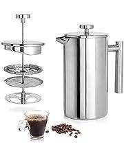 ماكينة تحضير القهوة الفرنسية المعزولة من شركة انلايف، ماكينة تحضير القهوة والشاي مزدوجة الجدار من الستانلس ستيل المعزول حرارياً، غير قابلة للصدأ، آمنة للاستخدام في غسالة الاطباق، 11.84 اونصة