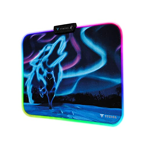 TYNIKA RGB Gaming Mouse Pad (13.8x9.8 in) - Large Soft LED Mousepad with 14 Lighting Modes, Non-Slip Rubber Base - Waterproof Computer Keyboard Mouse Mat, 350x250x5mm, Wolf