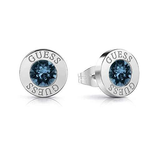 orecchini guess I cristalli blu brillante acciaio inossidabile chirurgico placcato rodio UBE78091 [AC1146]
