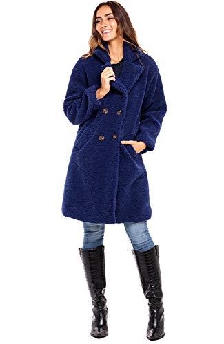 Alexander Del Rossa Women's Luxury Sherpa Fleece Coat, Winter Jacket, X-Large Navy Blue (SKU-A0437NBL2X)