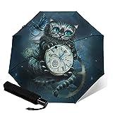 Paraguas plegables Alice Cheshire Cat Paraguas automatización Portátil de tres pliegues, compacto y Portátil plegable cortavientos impermeable y anti-UV