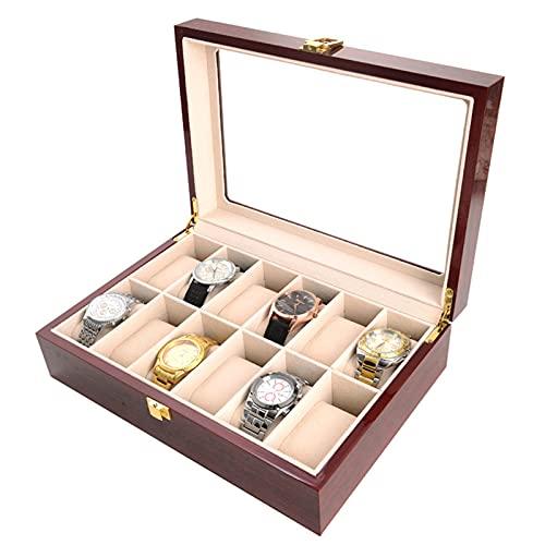 12 Soporte De Accesorios De Ranura para Relojes, Caja De Almacenamiento Joyeria para Hombres, Ventana De Tapa De Vidrio sobre Caja De Caja De Fibra De Carbono.