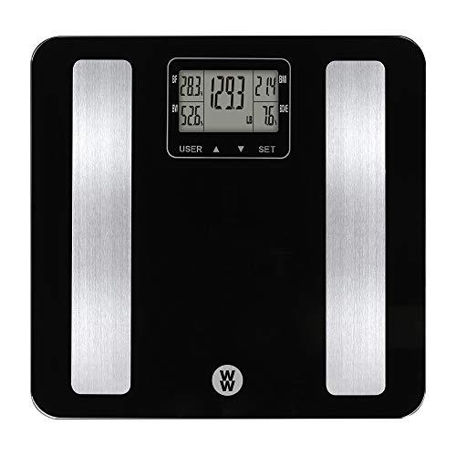 WW Scales by Conair Body Analysis Glass Bathroom Scale, Measures Body Fat, Body Water, Bone Mass & BMI, 4 User Memory, 400 Lbs. Capacity