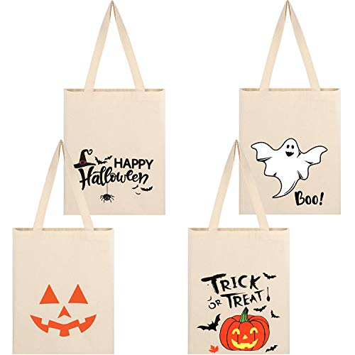 4 Pieces Halloween Treat Bags Reusable Canvas Bags Cartoon Halloween Tote Bag with Pumpkin and Ghost Design for Halloween Party Supplies, Grocery Shopping
