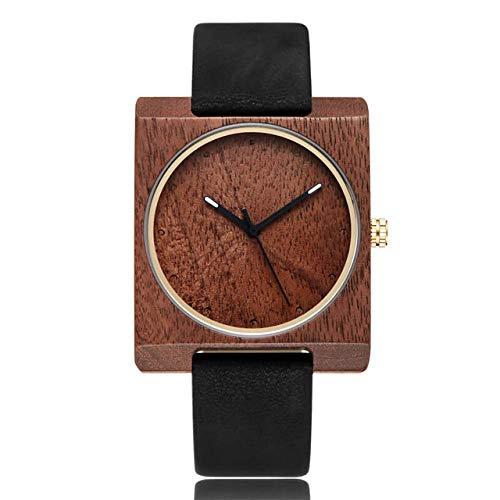 LCDIEB Reloj de Madera para Hombre Relojes de Madera Ligera Natural Relojes de Cuarzo para Hombre Relojes de Pulsera de Cuero con Esfera Cuadrada Creativa Reloj, Negro