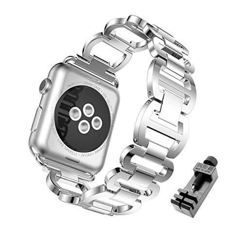 Bgfh Bling Diamond Watch Band para Apple Watch IWatch 42mm 38mm Metal Correa de repuesto de acero inoxidable Pulsera de mujer para 40 44mm