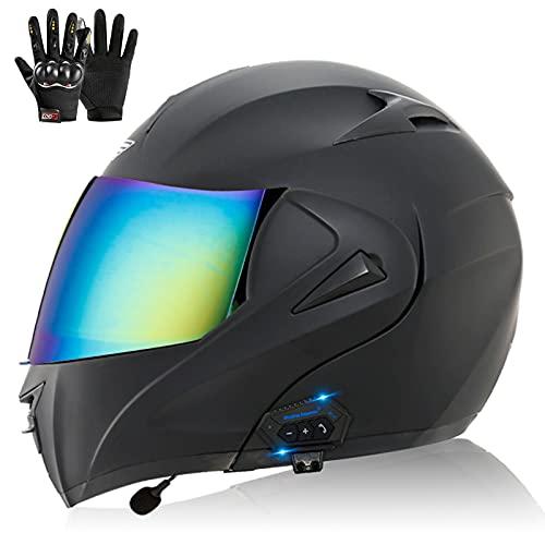 Casco de Moto Modular Bluetooth, ECE Homologado Casco de Moto Scooter Integrado con Doble Visera Transpirable y Cómodo Cascos de Motocicleta para Adultos Mujeres y Hombres