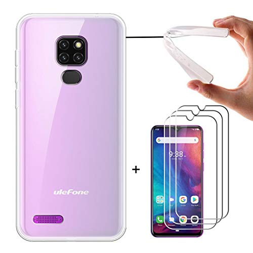 LJSM Funda para Ulefone Note 7P + [3 Piezas] Protector de Pantalla Templado Film Película Protectora - Semi-Transparente Carcasa Silicona TPU Suave Caso Case para Ulefone Note 7P 2019 (6.1