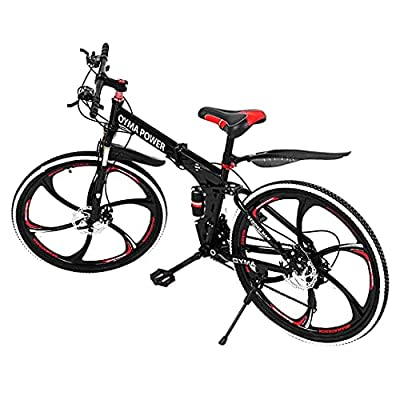 loinrodi 26 Inch Folding Mountain Bike Shimanos Folding MTB Bikes for Men Women Outdoor 21 Speed Full Suspension Disc Brakes Bicycles Trek MTB