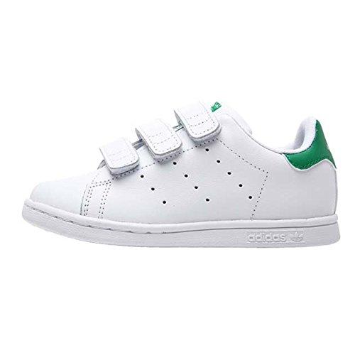 adidas Stan Smith CF I, Sneaker Unisex-Bambini, Bianco (Footwear White/Footwear White/Bold Pink 0), 24 EU